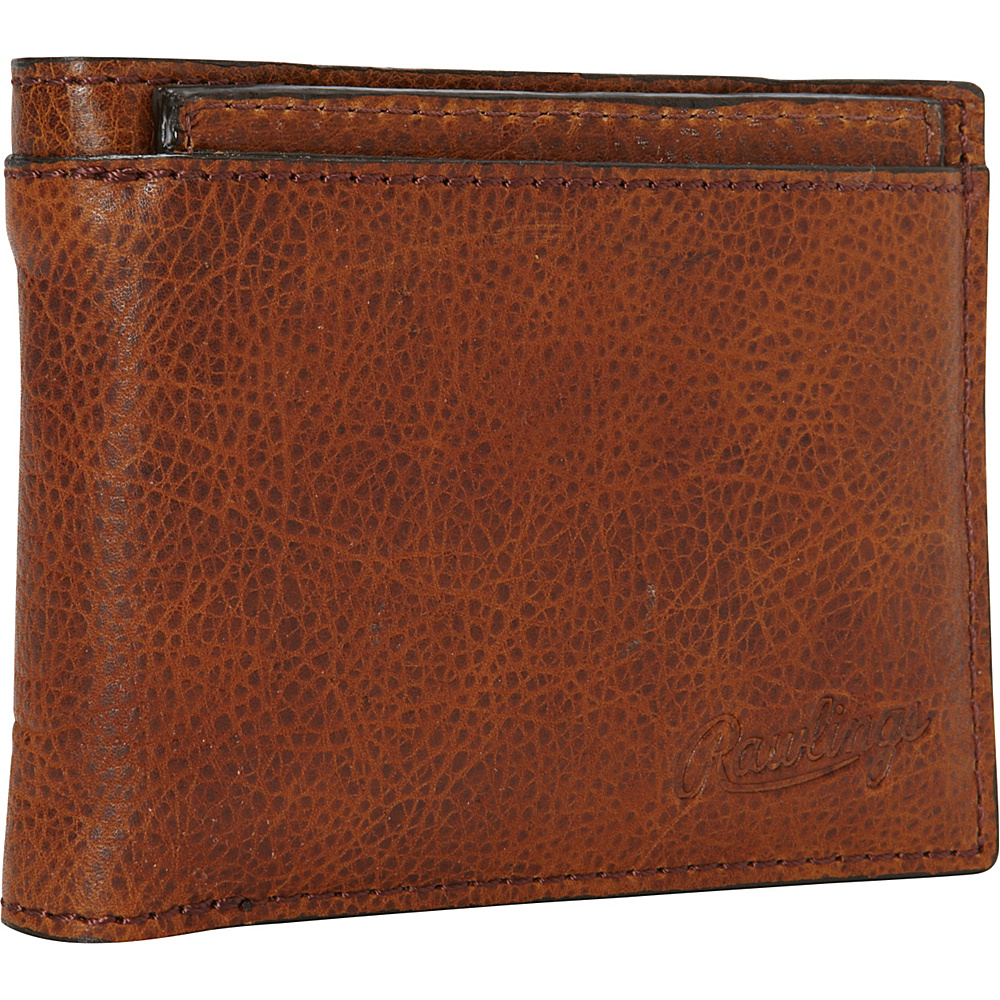 Rawlings Rugged Bi Fold Wallet with Coin Pocket Cognac Rawlings Men s Wallets