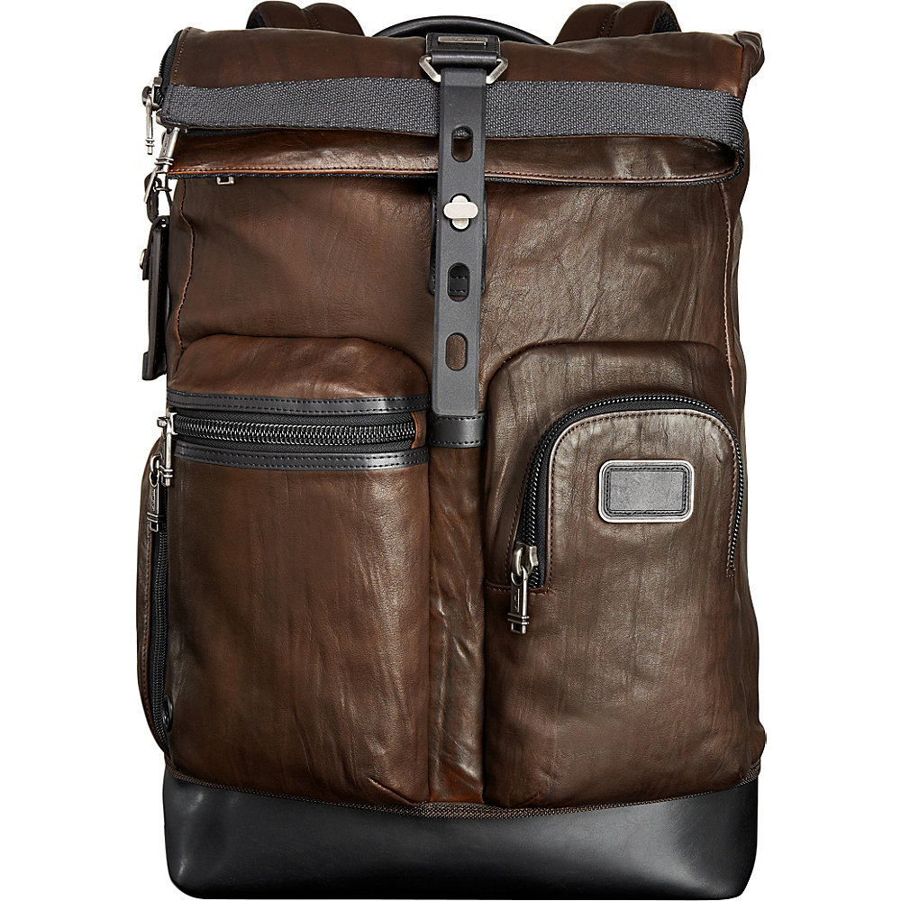 Tumi Alpha Bravo Luke Roll Top Leather Backpack Dark Brown Tumi Business Laptop Backpacks