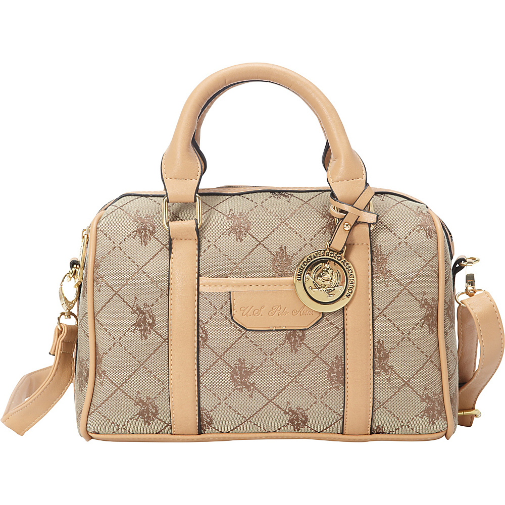 a26578828b05  46.74 More Details · U.S. Polo Association Logo Jacquard Mini Satchel Beige  - U.S. Polo Association Fabric Handbags