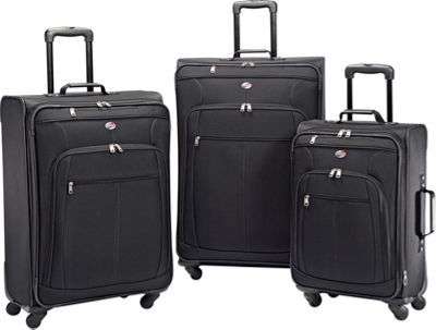 American Tourister Pop Plus 3pc Spinner Set Black - American Tourister Luggage Sets