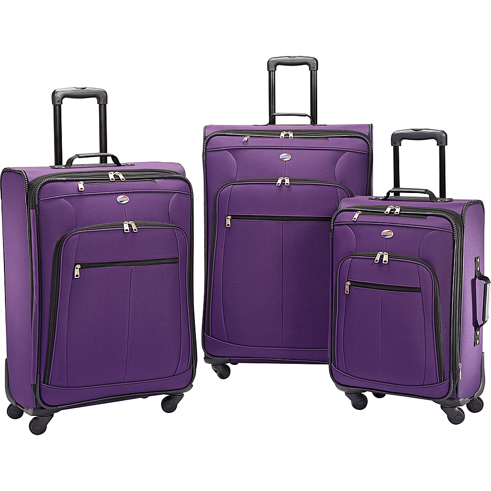 American Tourister Pop Plus 3pc Spinner Set Purple American Tourister Luggage Sets