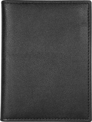 Maker & Co Single-Stitched Folded Leather Card Case Wallet Black - Maker & Co Mens Wallets