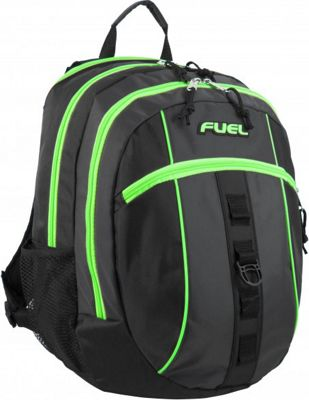 Fuel Active Backpack Black with Green Sizzle - Fuel Everyday Backpacks