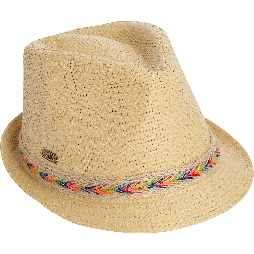 Sun N Sand Woven Accent Fedora Natural - Sun N Sand Hats/Gloves/Scarves - Fashion Accessories, Hats/Gloves/Scarves