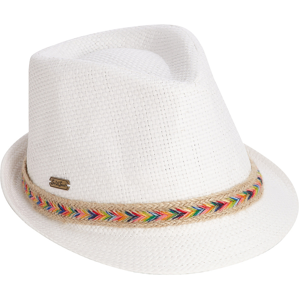 Sun N Sand Woven Accent Fedora One Size - White - Sun N Sand Hats/Gloves/Scarves - Fashion Accessories, Hats/Gloves/Scarves