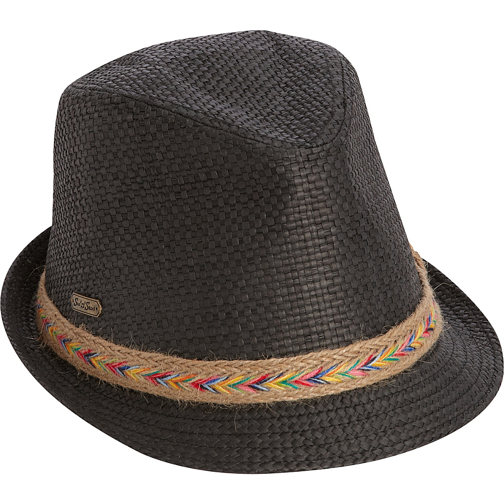 Sun N Sand Woven Accent Fedora One Size - Black - Sun N Sand Hats/Gloves/Scarves - Fashion Accessories, Hats/Gloves/Scarves