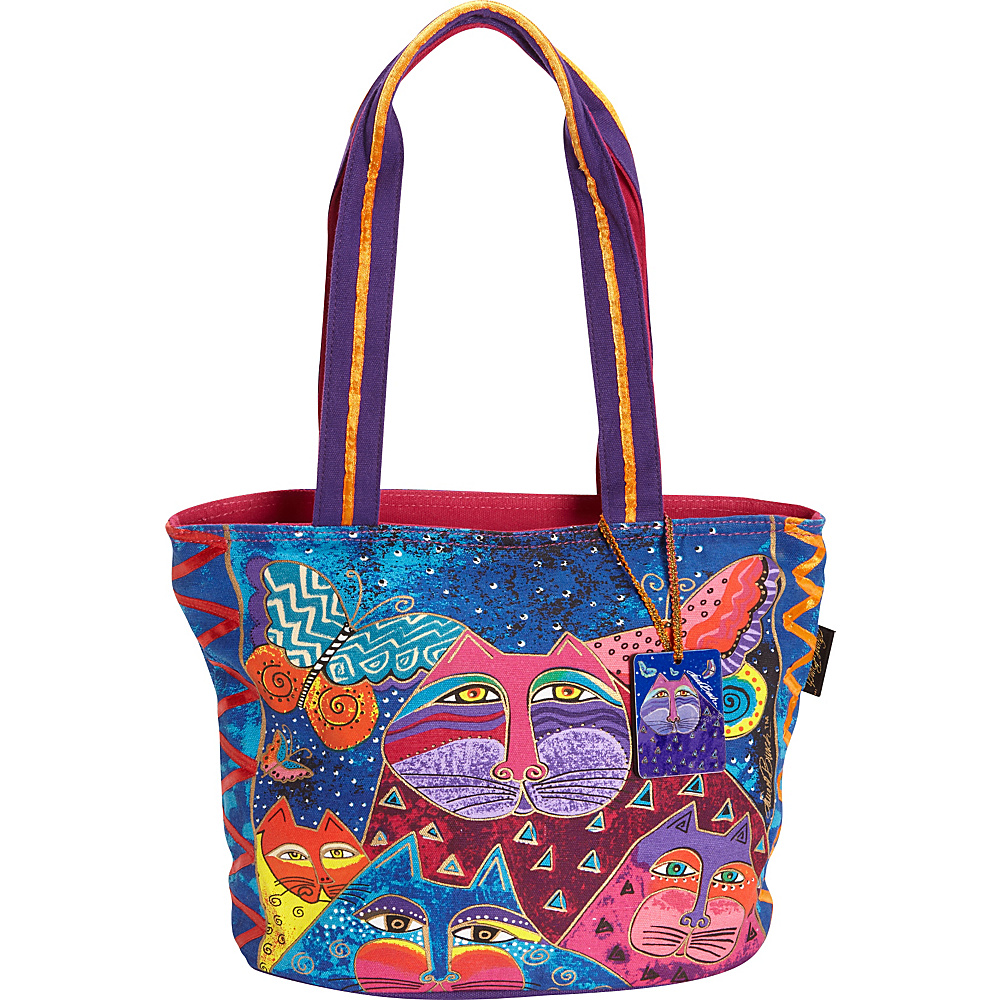 Laurel Burch Cats with Butterflies Medium Tote Multi Laurel Burch Fabric Handbags