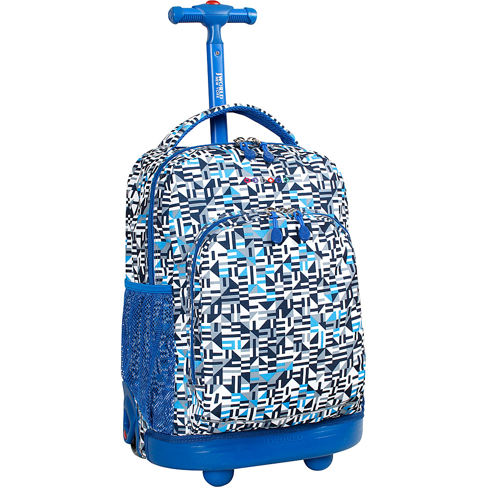 J World New York Sunny Rolling Backpack Geo Blue - J World New York Rolling Backpacks - Backpacks, Rolling Backpacks