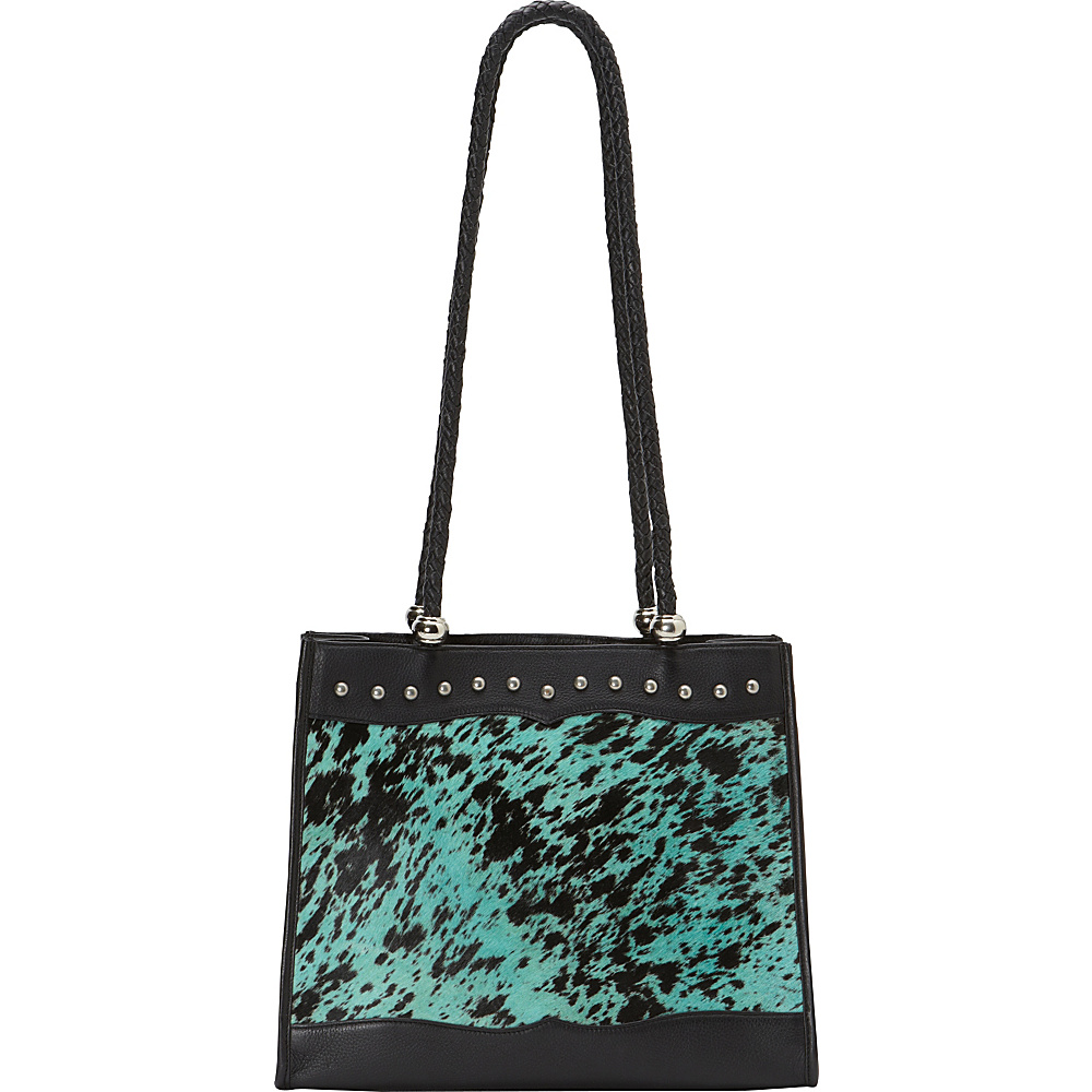 Scully Haircalf Shoulder Bag Black and Turquoise Scully Leather Handbags