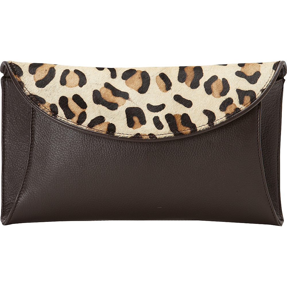 Scully Pebbled Leather Haircalf Clutch Brown Scully Leather Handbags