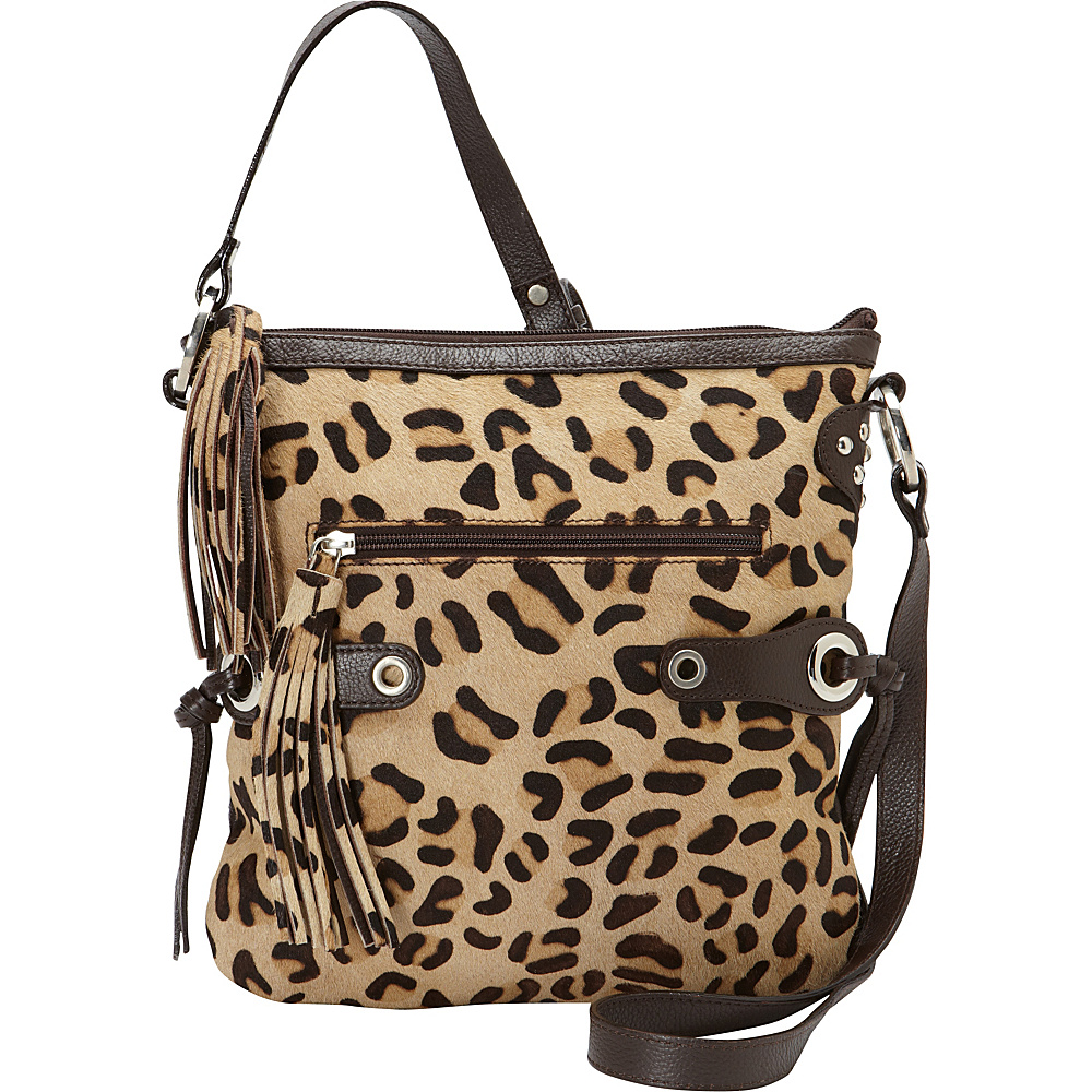 Scully Leopard Print Crossbody with Fringe Brown Scully Leather Handbags