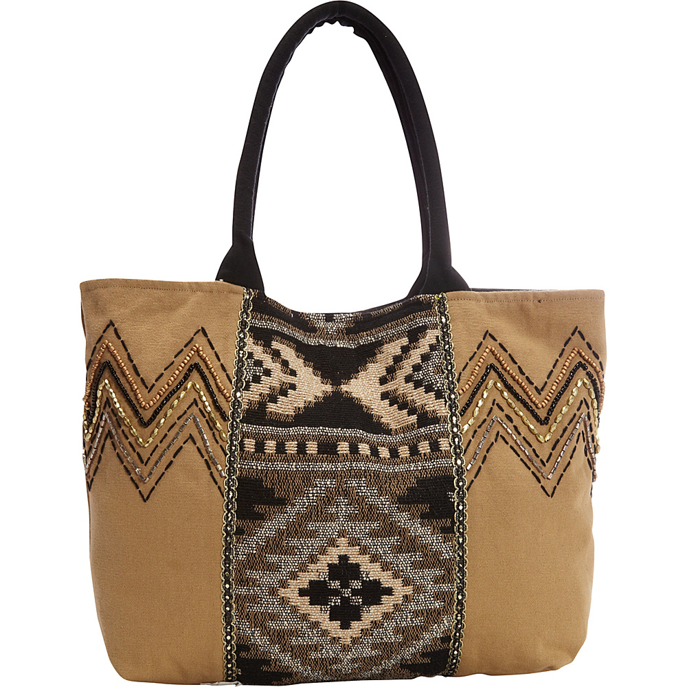 Scully Shoulder Bag with Geometric Aztec Print Taupe Scully Fabric Handbags