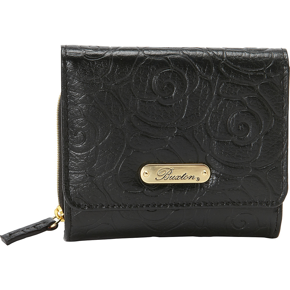 Buxton Rose Garden Accordion Zip French Wallet Black - Buxton Womens Wallets - Women's SLG, Women's Wallets