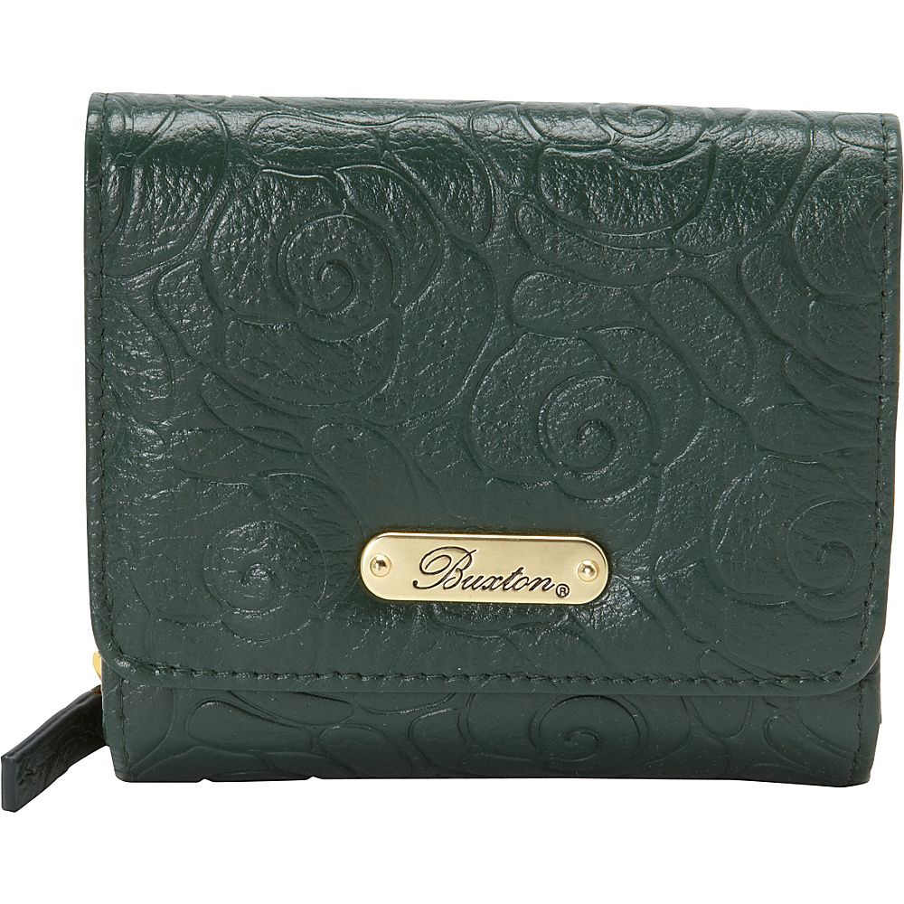 Buxton Rose Garden Accordion Zip French Wallet Pineneedle - Buxton Womens Wallets - Women's SLG, Women's Wallets