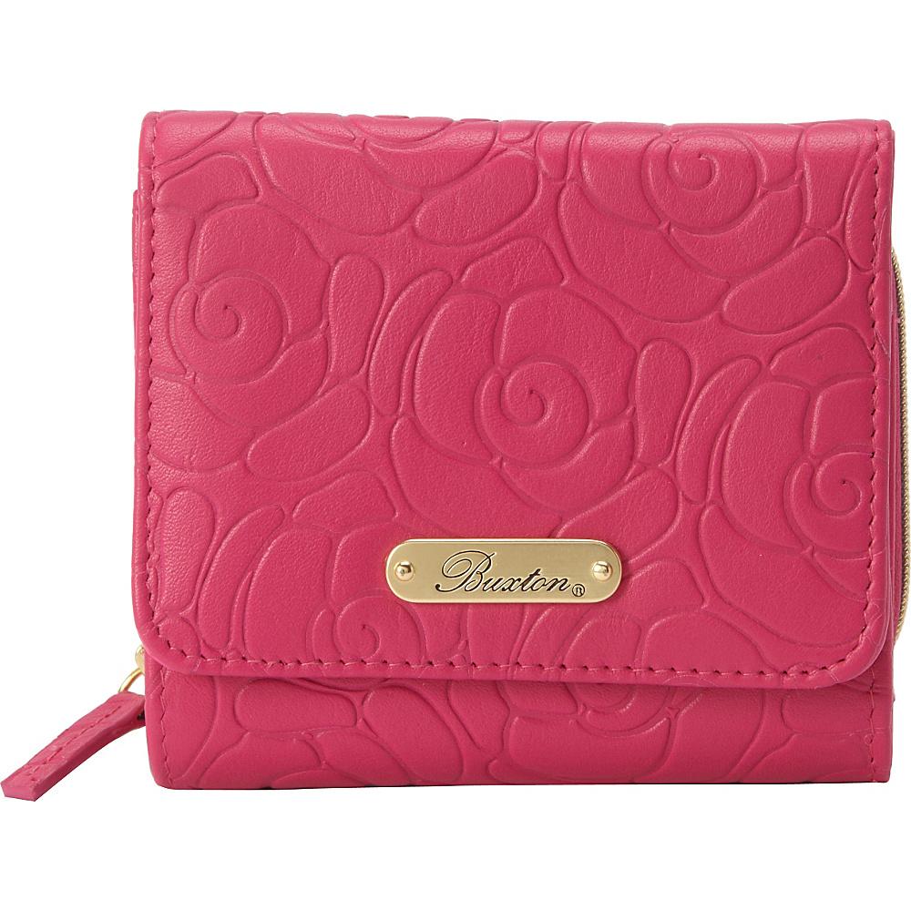 Buxton Rose Garden Accordion Zip French Wallet Fuchsia Pink - Buxton Womens Wallets - Women's SLG, Women's Wallets