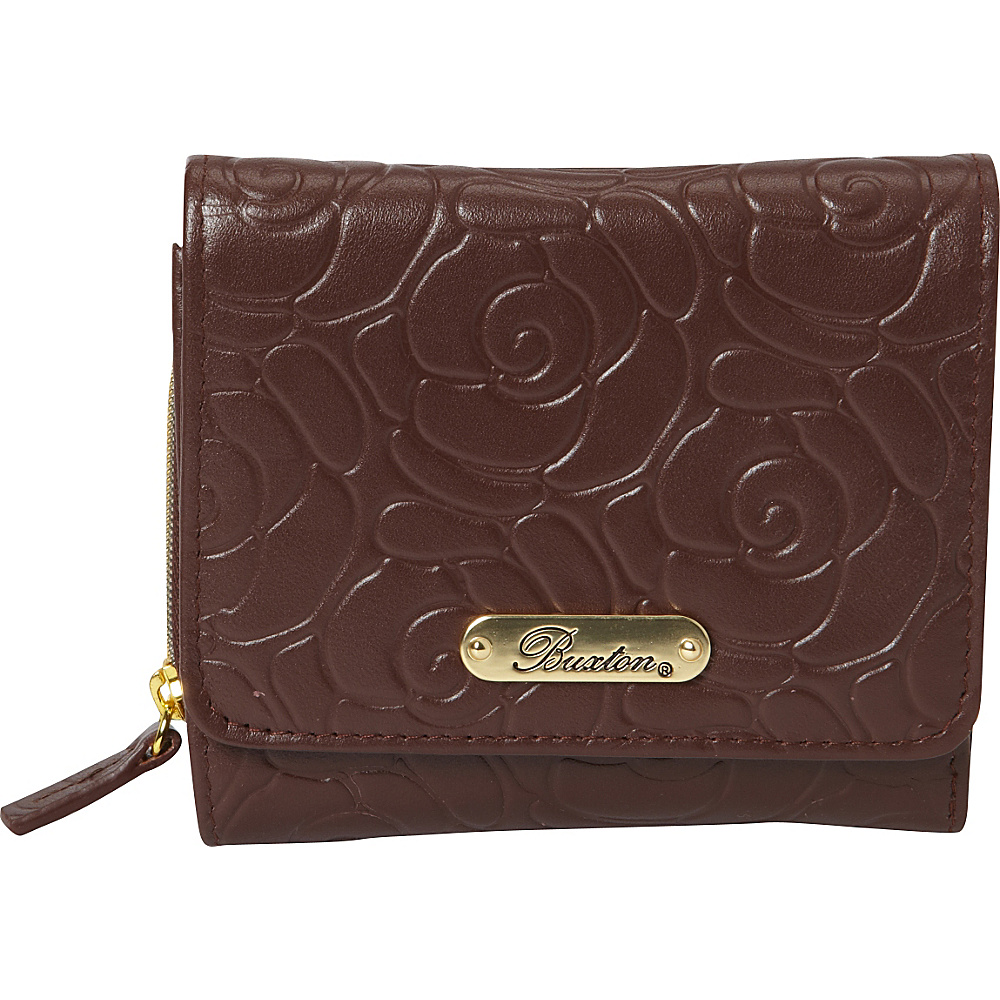 Buxton Rose Garden Accordion Zip French Wallet Brown - Buxton Womens Wallets - Women's SLG, Women's Wallets