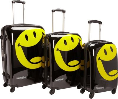 Smiley Smiley Happy World 3PC Spinner Luggage Set Black - Smiley Luggage Sets