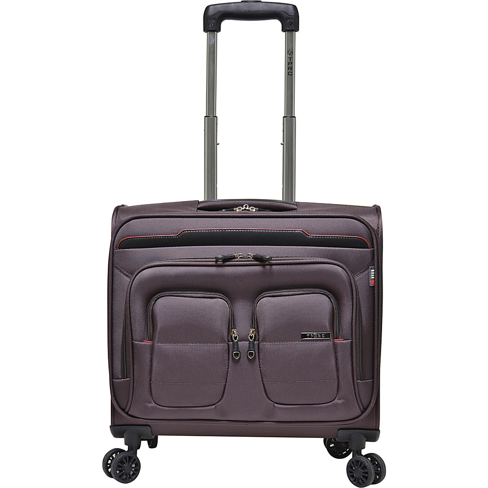 "Travelers Club Luggage 17"" Flex-File Rolling Spinner Briefcase Mocha - Travelers Club Luggage Softside Carry-On"