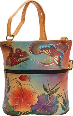 ANNA by Anuschka Hand Painted Slim Cross Shoulder Bag Antique Hibiscus - ANNA by Anuschka Leather Handbags
