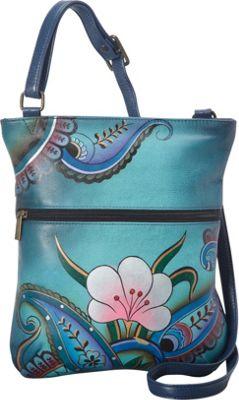 ANNA by Anuschka Hand Painted Slim Cross Shoulder Bag Denim Paisley Floral - ANNA by Anuschka Leather Handbags