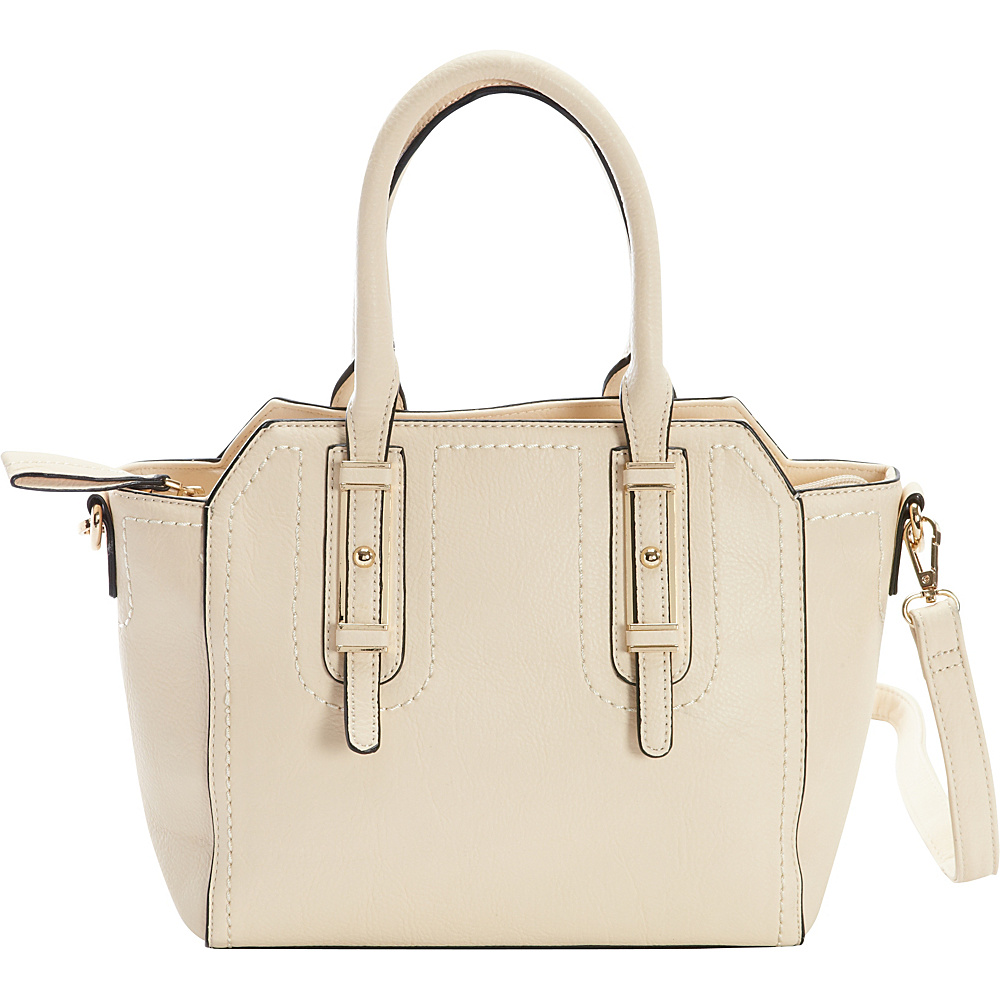 Diophy Belted Satchel Ivory Diophy Manmade Handbags