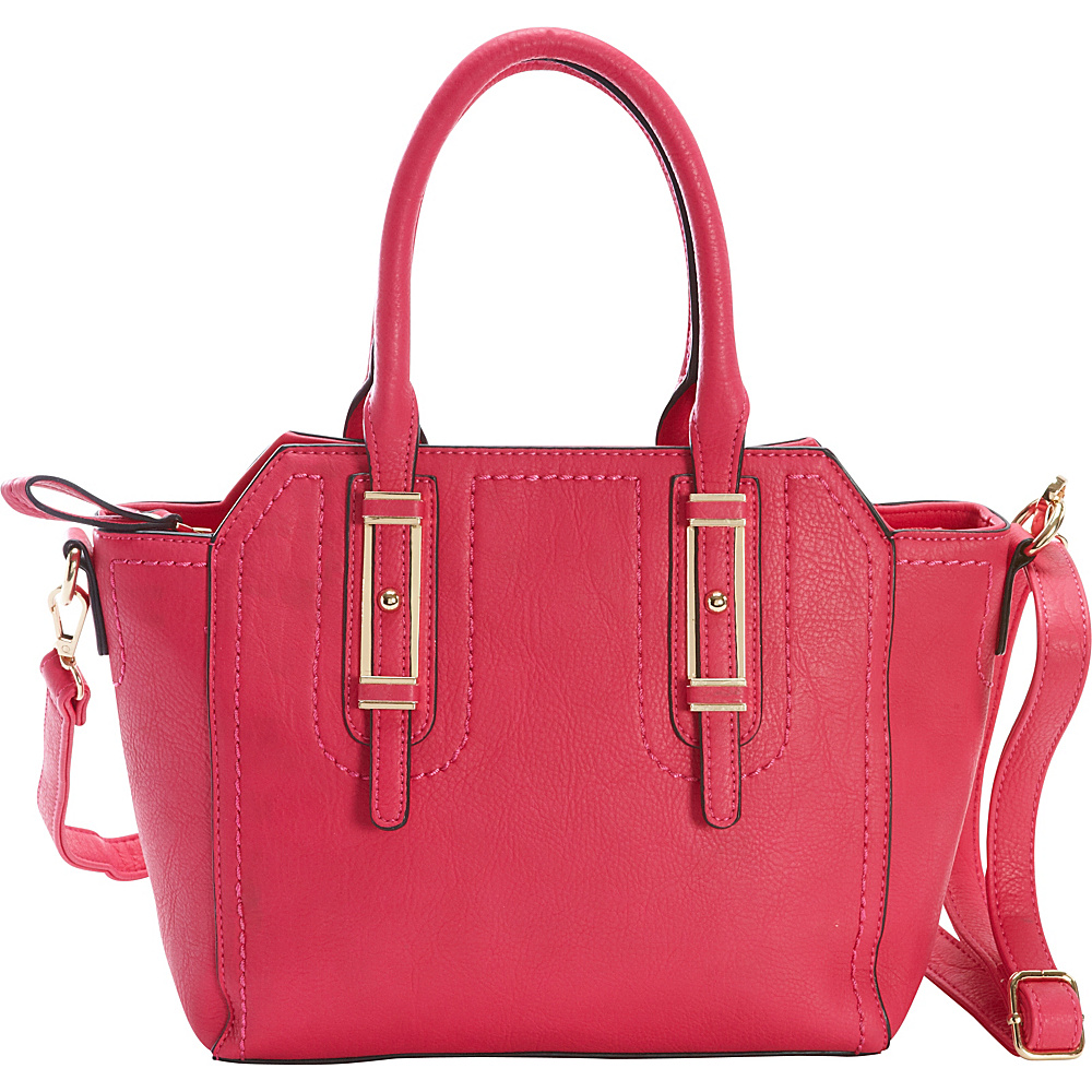 Diophy Belted Satchel Pink Diophy Manmade Handbags