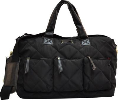 "Image of Adrienne Vittadini 18"" Large Quilted Duffle Black - Adrienne Vittadini Luggage Totes and Satchels"