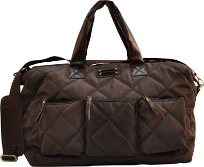 "Image of Adrienne Vittadini 18"" Large Quilted Duffle Brown - Adrienne Vittadini Luggage Totes and Satchels"