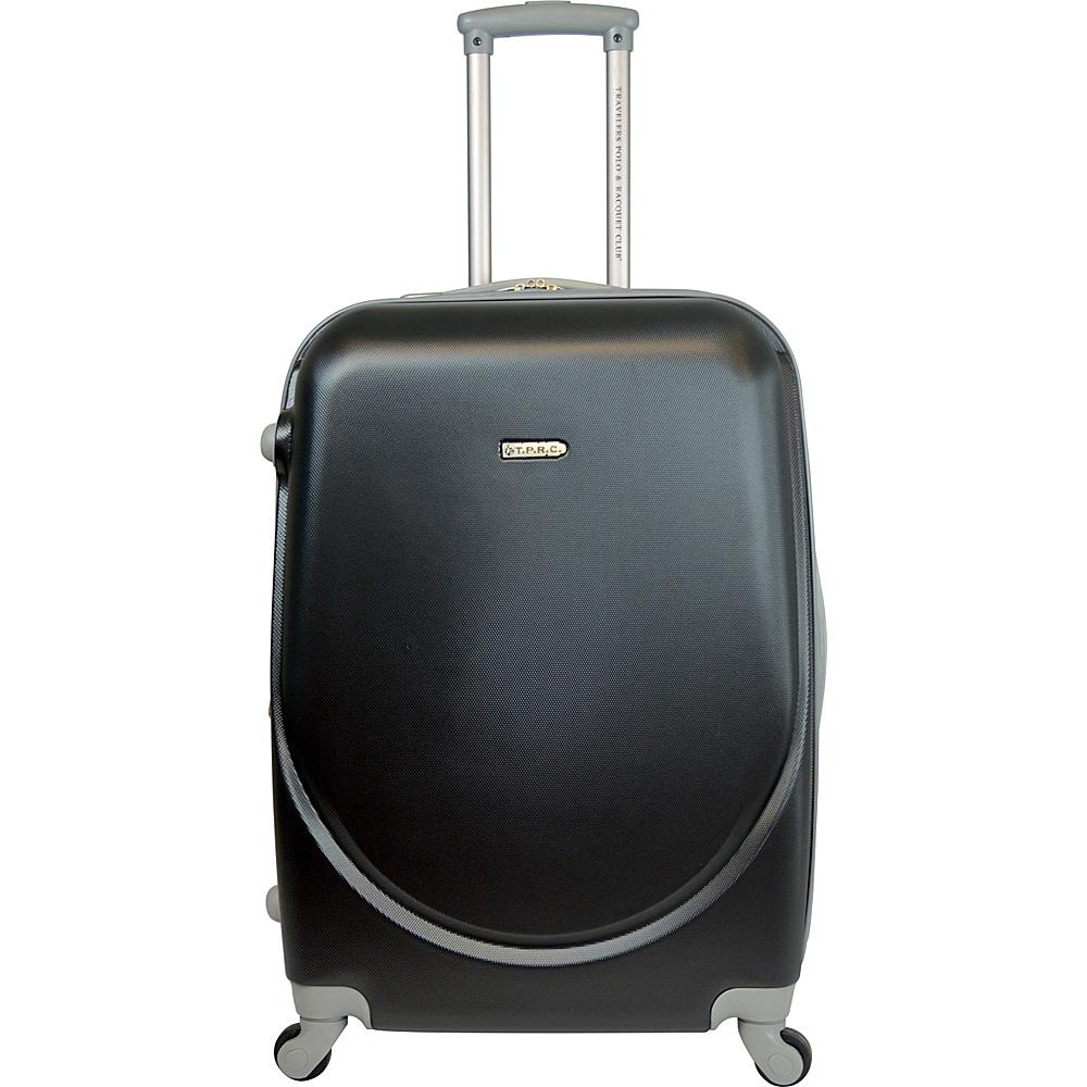 "Travelers Club Luggage Barnet 24"" Round Shell Expandable Spinner Black - Travelers Club Luggage Hardside Luggage"