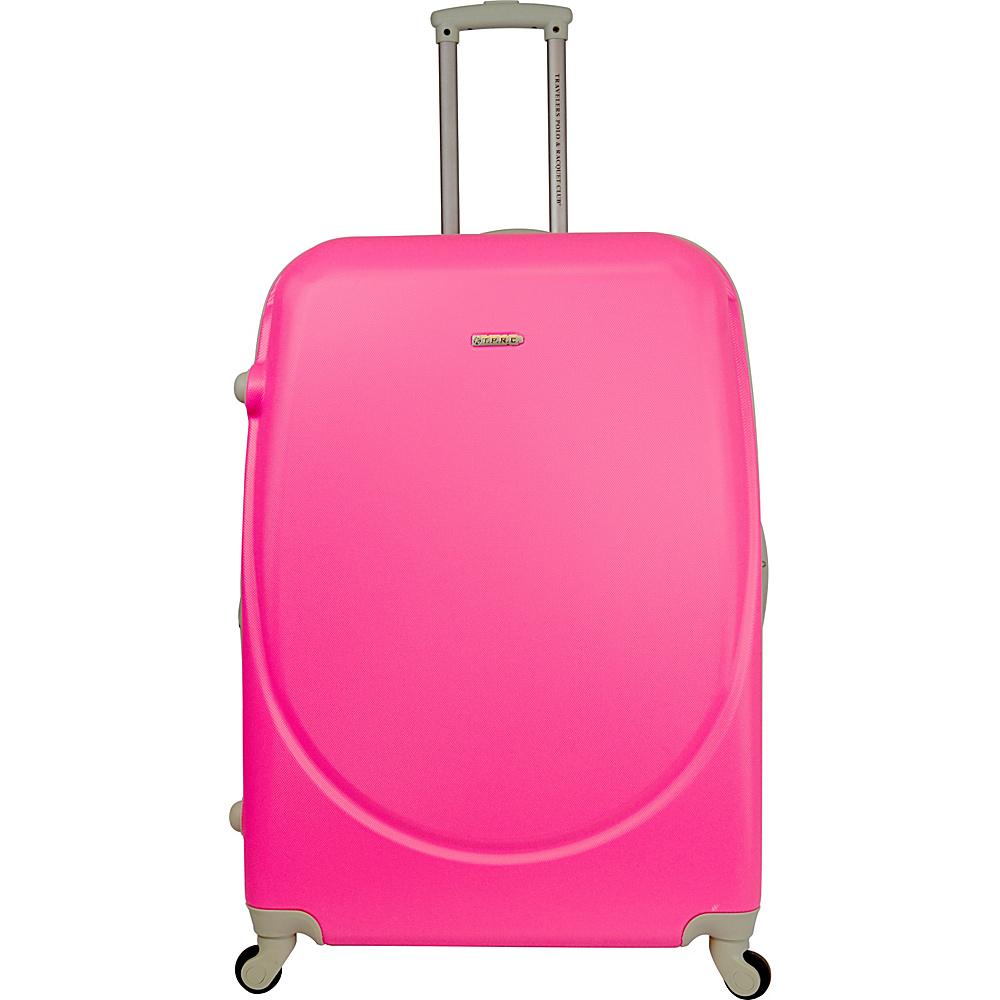 "Travelers Club Luggage Barnet 24"" Round Shell Expandable Spinner Neon Pink - Travelers Club Luggage Hardside Luggage"