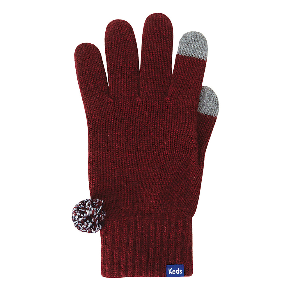 Keds Knit Gloves with Pom Beet Red Keds Hats Gloves Scarves