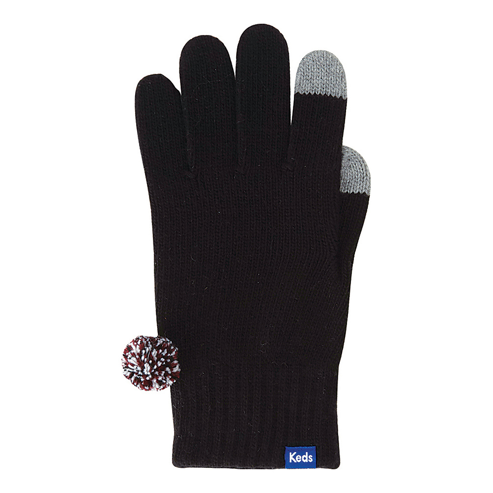 Keds Knit Gloves with Pom Black Keds Hats Gloves Scarves