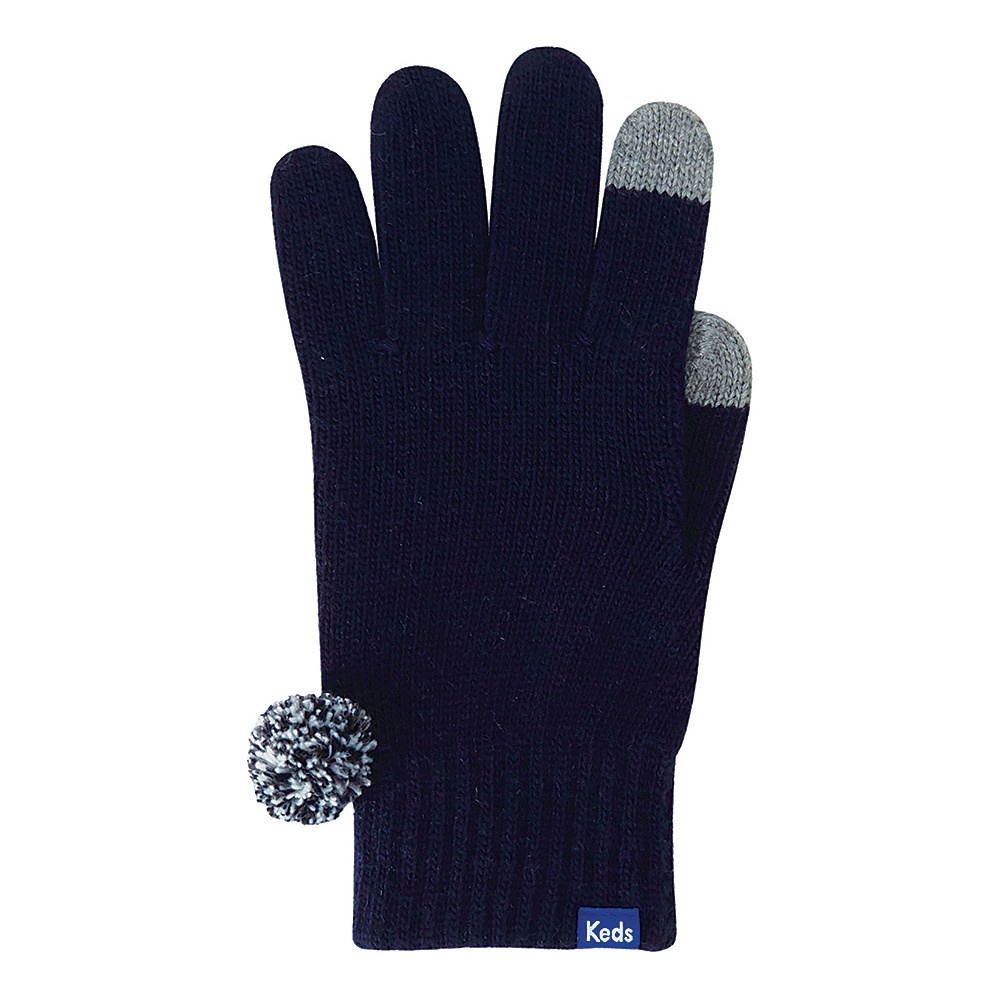Keds Knit Gloves with Pom Peacoat Keds Hats Gloves Scarves