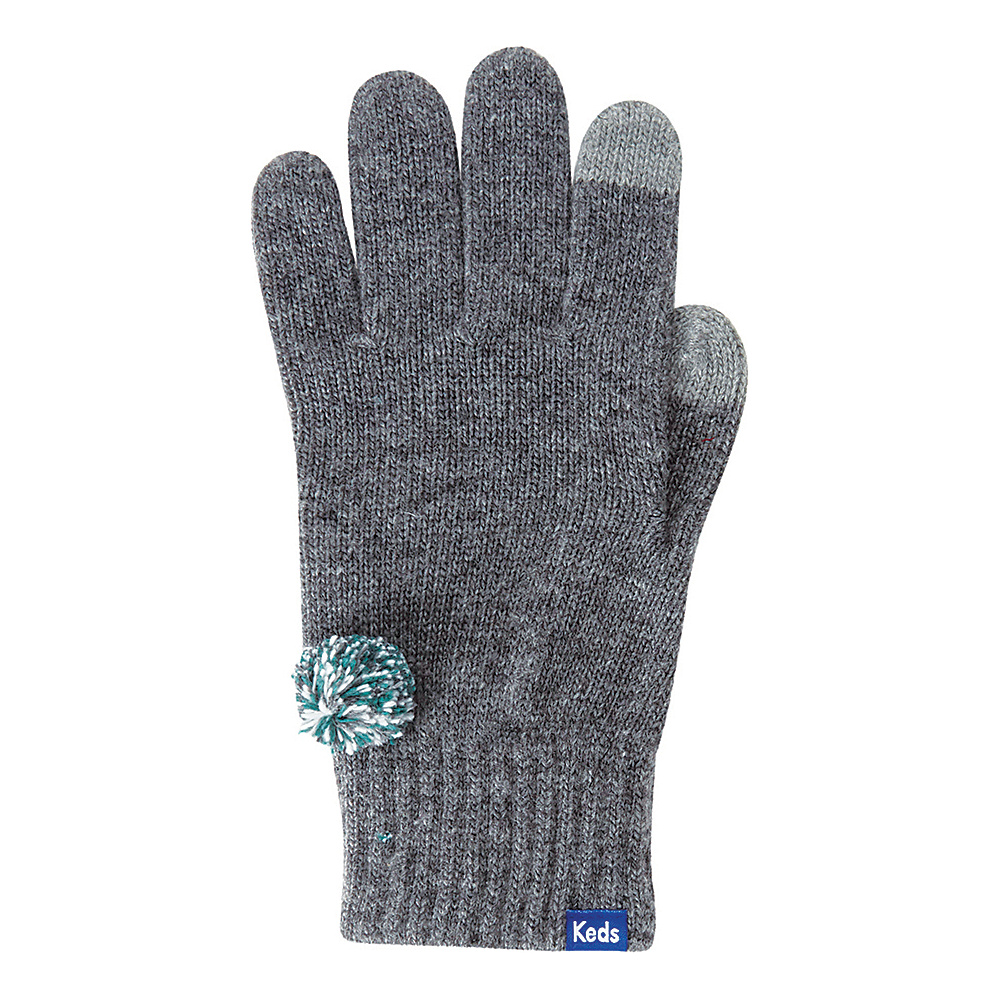 Keds Knit Gloves with Pom Pewter Keds Hats Gloves Scarves