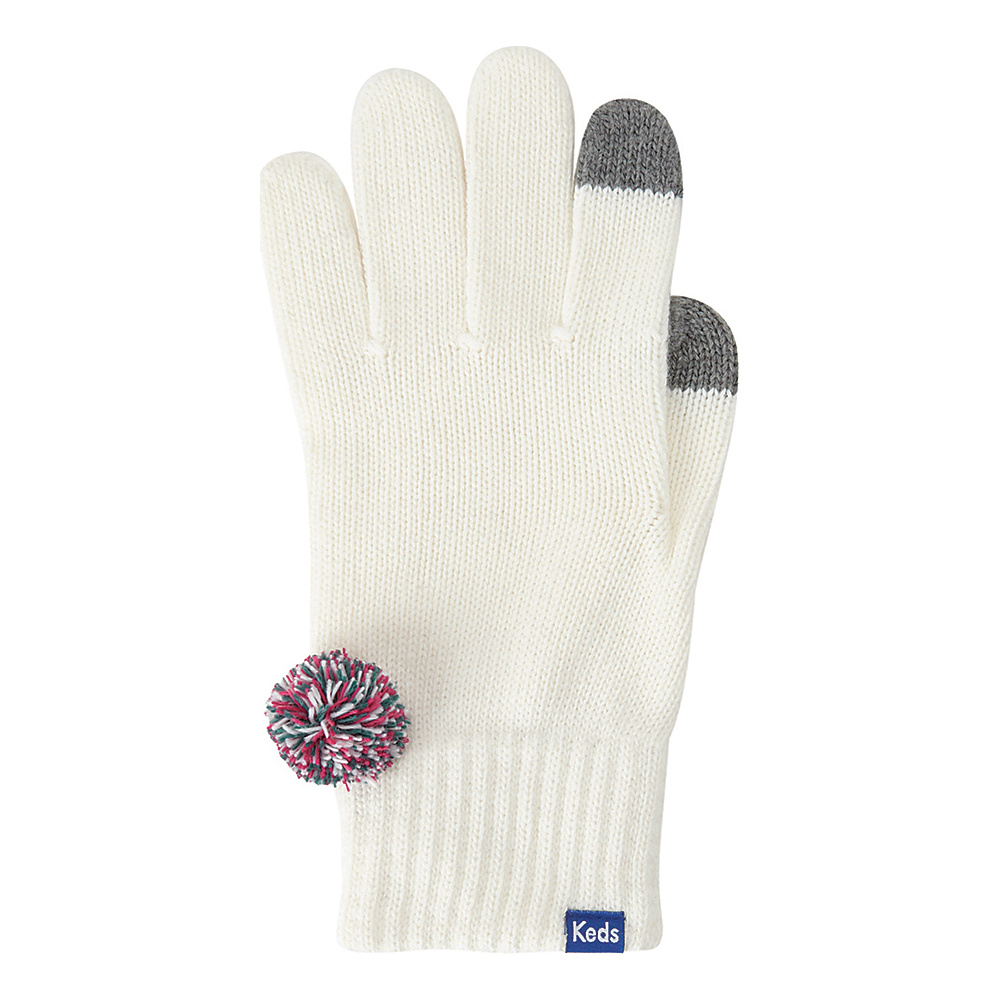 Keds Knit Gloves with Pom Snow White Keds Hats Gloves Scarves