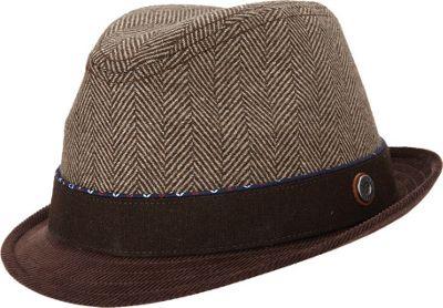Ben Sherman Wool Herringbone Trilby Hat Coffee - Small/Medium - Ben Sherman Hats/Gloves/Scarves