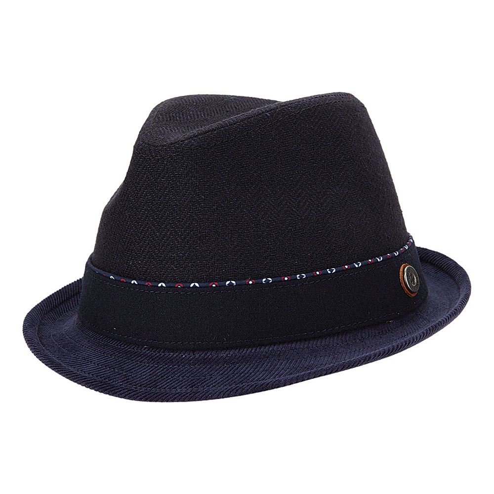Ben Sherman Wool Herringbone Trilby Hat Navy Blazer - Small/Medium - Ben Sherman Hats/Gloves/Scarves