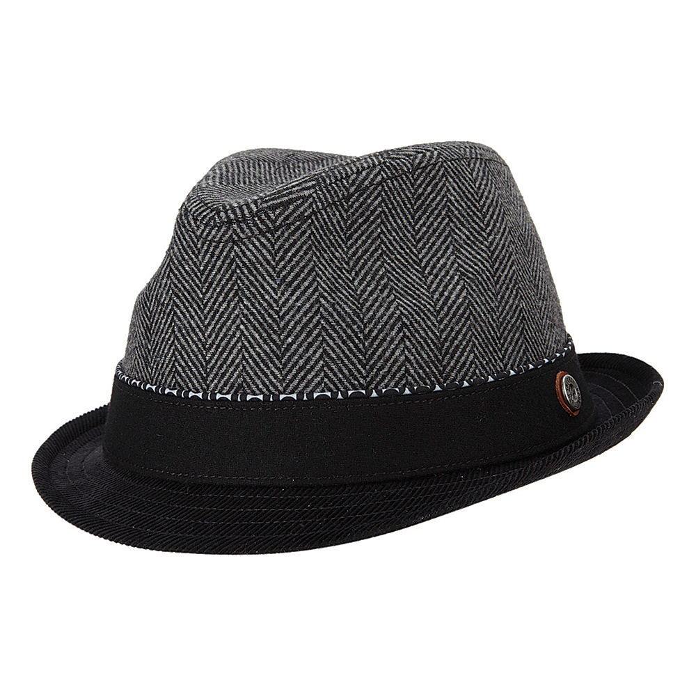 Ben Sherman Wool Herringbone Trilby Hat Smoked Pearl - Large/Extra Large - Ben Sherman Hats/Gloves/Scarves