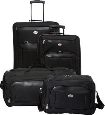 American Tourister Brookfield 4-Piece Luggage Set Black - American Tourister Luggage Sets