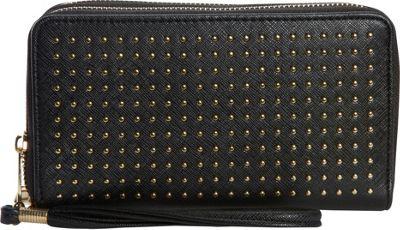 Rebecca & Rifka Faux Leather Stud Double Zip Wallet Black - Rebecca & Rifka Women's Wallets