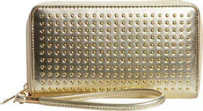 Rebecca & Rifka Faux Leather Stud Double Zip Wallet Gold - Rebecca & Rifka Women's Wallets