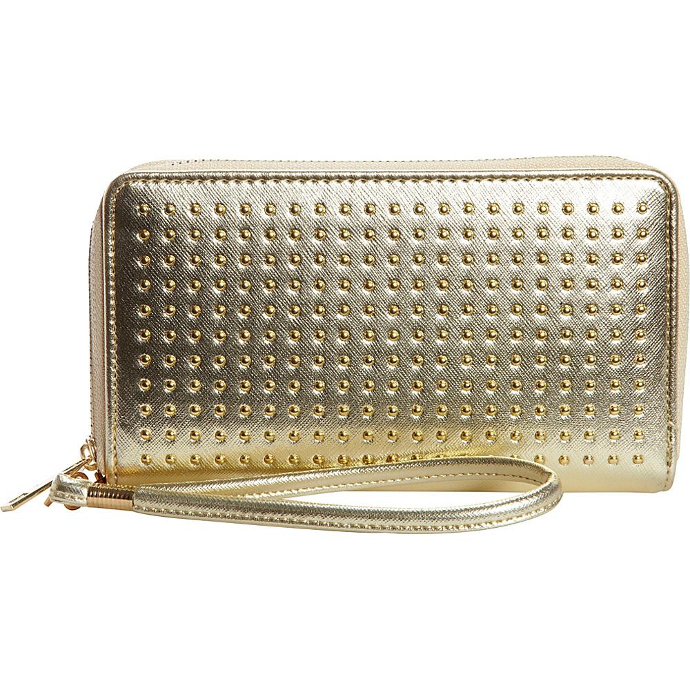 Rebecca Rifka Faux Leather Stud Double Zip Wallet Gold Womens Wallets