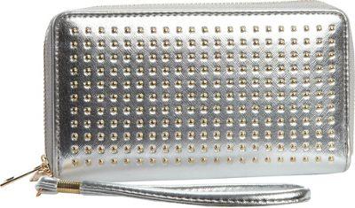 Rebecca & Rifka Faux Leather Stud Double Zip Wallet Silver - Rebecca & Rifka Women's Wallets