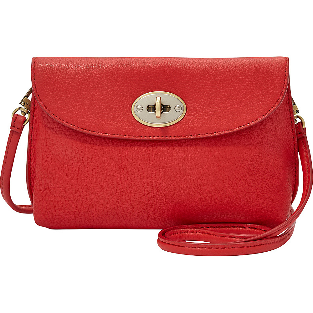 Fossil Monica Crossbody Real Red Leather Handbags
