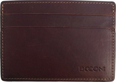 Boconi Bryant RFID Weekender ID Card Case Antiqued Mahogany with Houndstooth - Boconi Men's Wallets