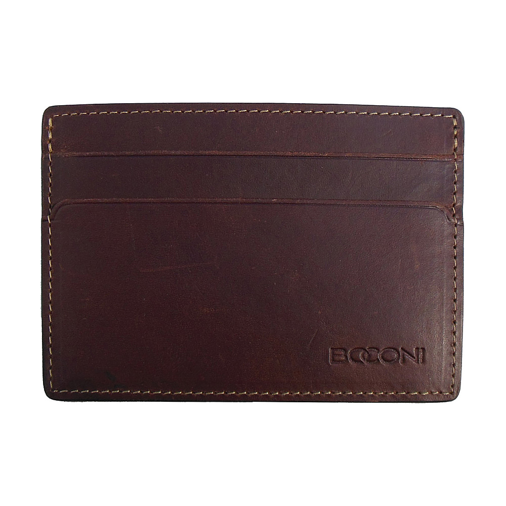 Boconi Bryant RFID Weekender ID Card Case Antiqued Mahogany with Houndstooth Boconi Men s Wallets