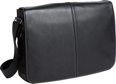 Boconi Tyler Tumbled Slim Mailbag Messenger Black with Khaki - Boconi Messenger Bags