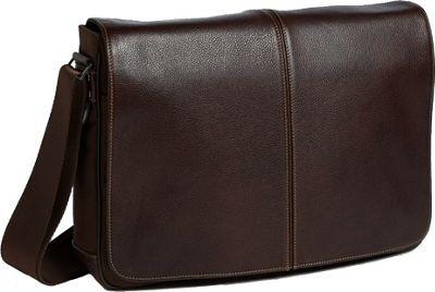 Boconi Tyler Tumbled Slim Mailbag Messenger Coffee with Khaki - Boconi Messenger Bags