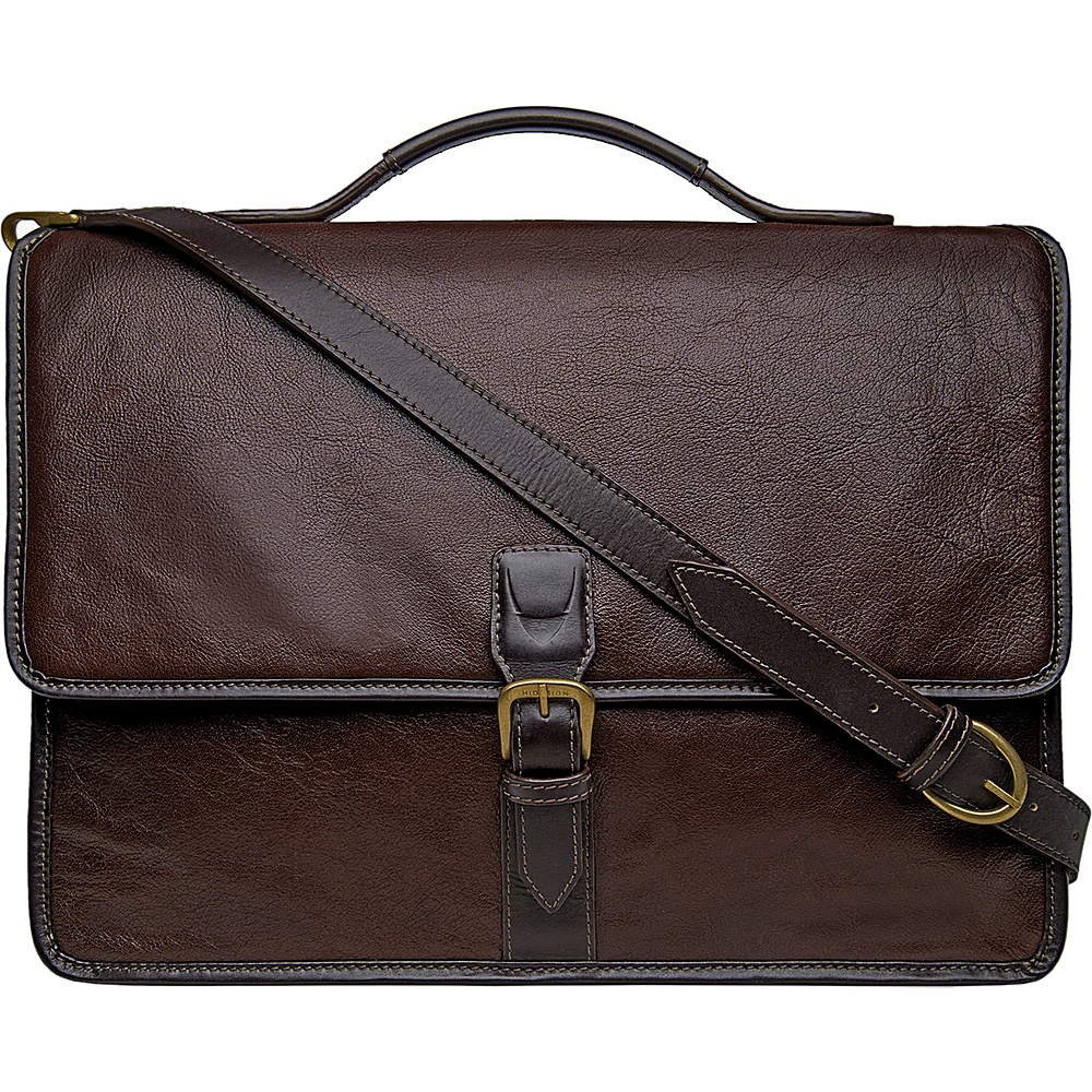 Hidesign Harrison Buffalo Leather Laptop Briefcase Brown Hidesign Non Wheeled Business Cases