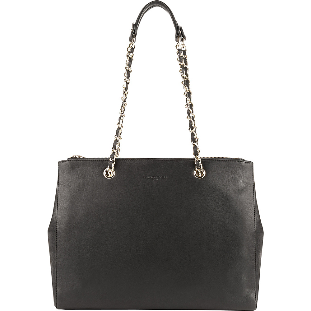 Lancaster Paris Mademoiselle Estelly Double Chain Shoulder Tote Black Lancaster Paris Leather Handbags